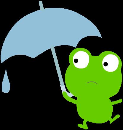 傘をさすかえるのイラスト 雨が降らないと渇水が心配。井戸水が涸れてしまった。普段の川の水が少なく